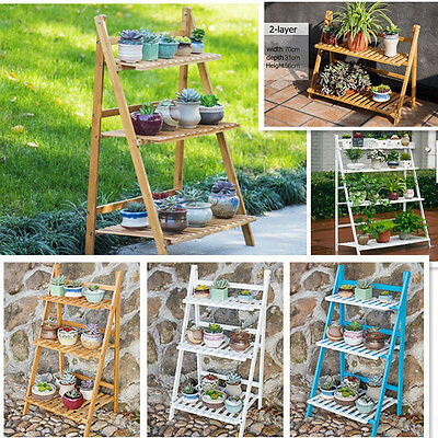 Indoor Outdoor bamboo Garden Decor Pot Flower Planter Display book Shelf Stand