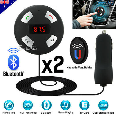 2x Magnet Car Kit Wireless Bluetooth Receiver FM LCD AUX Handsfree USB Charging