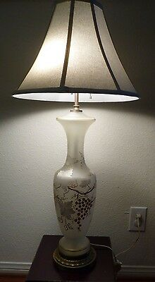 Vintage Frosted Gl W Hand Painted Gold Vines Hollywood Regency Table Lamp