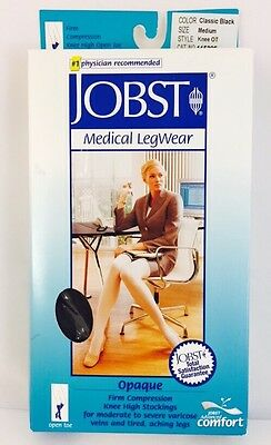New Jobst Opaque Compression Stockings Knee 20-30mmHg Open Toe Black Medium