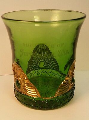 Antique EAPG Souvenir Green Glass Tumbler  Farmington WI Wis Washington County