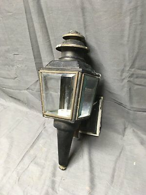 Vintage Copper Lantern Wall Sconce Light Fixture Beveled Glass Panels 204-17E