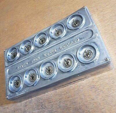 Vintage Industrial Cast Metal 10 Gang Light Switch - BS EN Approved