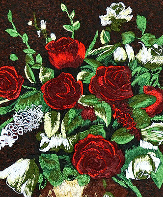 """18"""" Brocaded China Elegance Silk Embroidery Painting: Classic Rose Vase"""