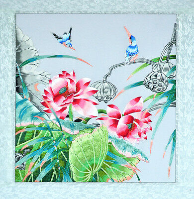 """18"""" Brocaded Chinese Traditional Silk Embroidery Painting: Pond Birds & Plants"""