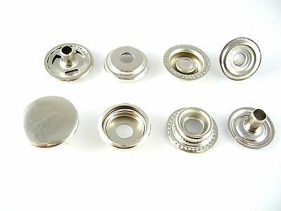 50 x Rustproof 15mm  Fasteners Press Stud Poppers Ring Socket Spring Press