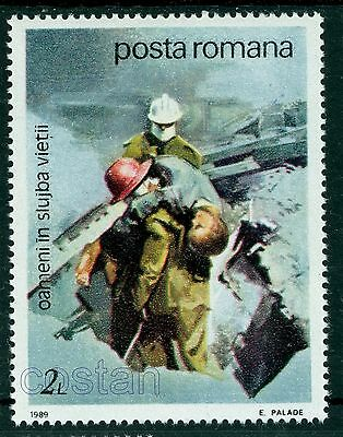 1989 Firefighter rescueing child/earthquaqe- Rescue & Relief Service,Romania,MNH
