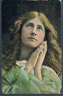 *vintage Valentines Postcard Young Girl Praying 1906 Come To Sermon On Sunday
