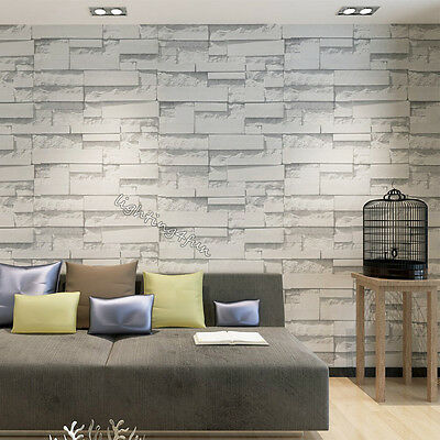 3D Rustic Grey White Wash Embossed Brick Stone Effect Look Wallpaper Decor 10M