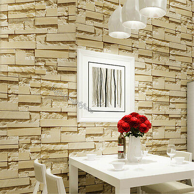 10M 3D Modern Rustic Brick Stacked Stone Wallpaper PVC Living Room Bathroom Roll