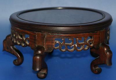 Antique Carved Hardwood Wooden Display Stand For Chinese Vase or Bowl
