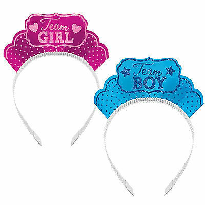 12 Girl Or Boy Baby Shower Gender Reveal Party Pink Blue Headband Tiara