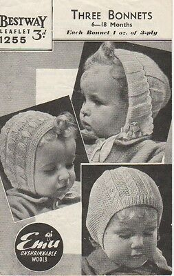 VINTAGE 1940s BESTWAY pattern booklet 1255 baby's knitted bonnets 6-18 mths