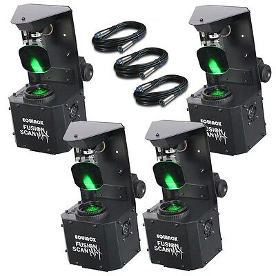 4x Equinox Fusion Scan MAX LED DJ Stage Bar Club Scanner Light Effect & Cables