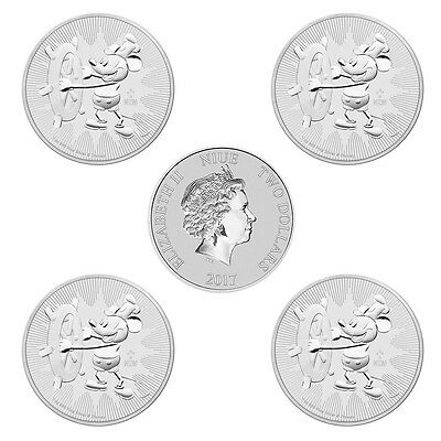 5 x 1 oz Silber Mickey Mouse 2017  Steamboat Willie 2 $ Dollar Niue Stempelglanz