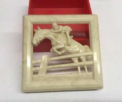 Vintage Hickok Trinket Box Jumping Horse. Red Base And Marbled Tan Top