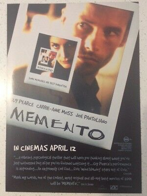 "Promotional 6.5"" X 8.5"" Australian Release Movie Flyer - Memento (2000)"