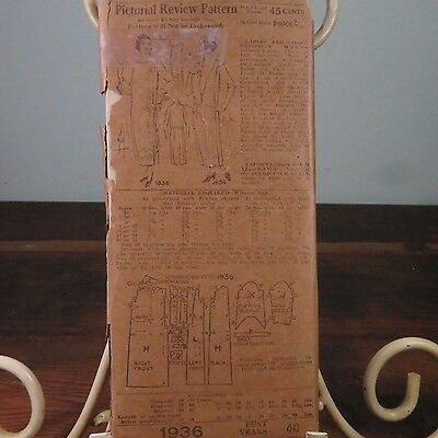 VTG Pictorial Review Patterns 1940s Ladies One Piece Dress No. 1936