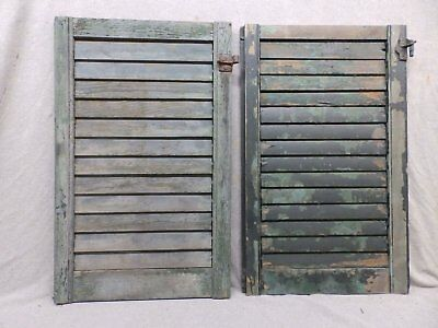 Two Antique Window Wood Louvered Shutter Shabby Old Chic Vtg 27x17 359-17R