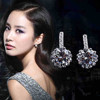 Ladies Hot Fashion 925 Sterling Silver Cushion Cut Crystal Party Stud Earrings