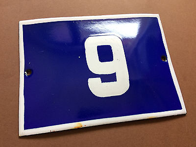 ANTIQUE VINTAGE ENAMEL SIGN HOUSE NUMBER 9 Or 6 BLUE DOOR GATE STREET1950's