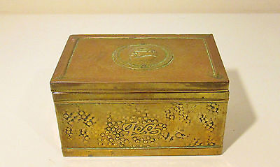 Antique Wooden & Brass Bound Tea Caddy Box - Nautical Ship Decoration To Lid