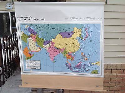 Roll-up Rand McNally School Map of Asia after WW II, showing changes to 1950