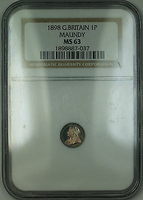 1898 Great Britain Maundy Victoria 1P Silver Penny Coin NGC MS-63