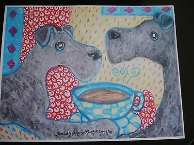 """Kerry Blue Terrier Print 8.5"""" x 11"""" 'Do Kerry Blue Terriers Have Coffee?'"""