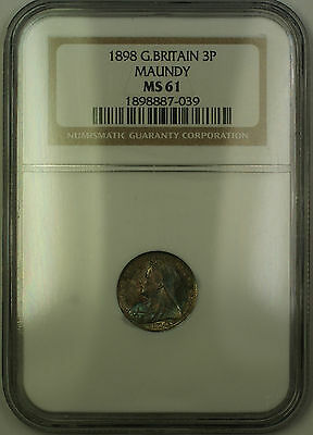 1898 Great Britain Maundy Victoria Silver 3P Three Pence Coin NGC MS-61 Toned