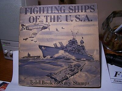 1942 Tydol/Veedol Fighting Ships of the USA Collectible Stamp Book,Complete-Nice