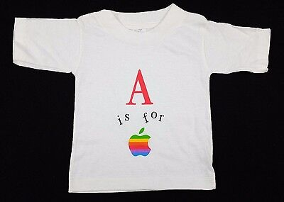 """Vtg 1980s Baby/Toddler """"A is for Apple"""" T-Shirt 12 mos mac macintosh deadstock"""