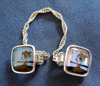 Vintage, Fashion, Lady's Butterfly Wings, Palm Trees, Sweater Clips