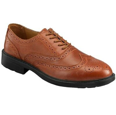 Psf Brown Executive Leather Brogue Safety Steel Toe Cap Midsole Work Shoes Size