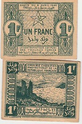 Morocco 1 Franc Banknote 1944 Extra Fine Condition Cat#42