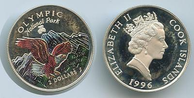 G3044 Cook Islands 2 Dollars 1996 KM#280 Silber Adler National Park Farbauflage