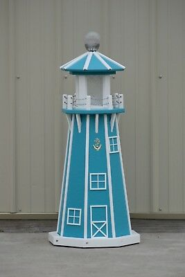 """39"""" Octagon Electric and Solar Powered Poly Lighthouse Aruba Blue / White trim"""