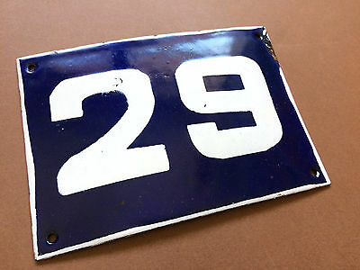 ANTIQUE VINTAGE ENAMEL SIGN HOUSE NUMBER 29 BLUE DOOR GATE STREET SIGN 1950's