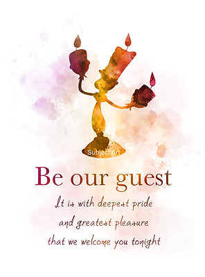 ART PRINT Beauty and the Beast Quote illustration, Lumiere, Song, Be Our Guest