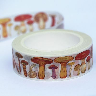 Assorted Mushrooms Washi Paper Decorative Tape 10m x 15mm Craft