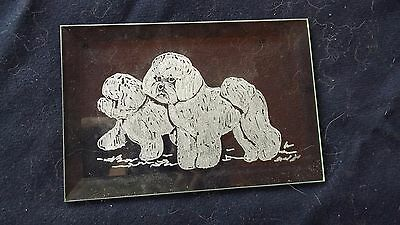 Bichon Frise- Lovely hand engraved glass bevel in wood stand by Ingrid