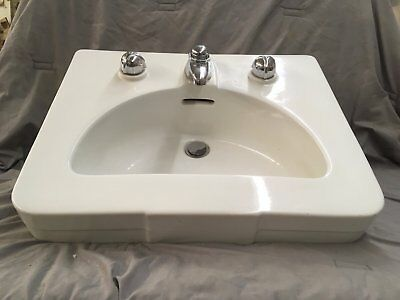 Vtg Ceramic White Porcelain Wall Mount Bathroom Sink Old Crane Diana 206-17E