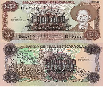 Nicaragua 1,000,000 Cordobas Banknote,1985 Uncirculated Condition Cat#164