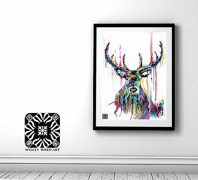Watercolour Abstract Stag Painting - Print