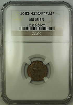 1902-KB Hungary 1 Filler Copper Coin NGC MS-63 Brown