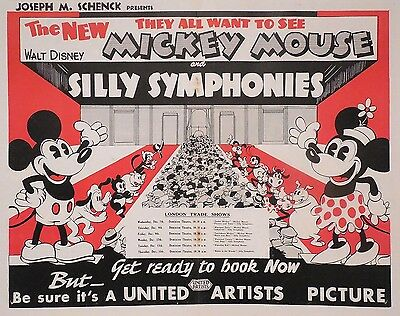 Walt Disney 1932 Mickey Mouse Silly Symphonies United Artists Poster - Very Rare