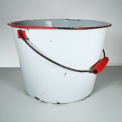 """Vintage White Red Enamelware Pot with Wood Handle - 12"""" Diameter x 8-1/2"""" Tall"""