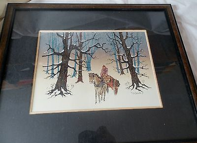 Original Canadian Maurice Bouchard framed Oil / Mixed Painting WINTER SUITE wCOA