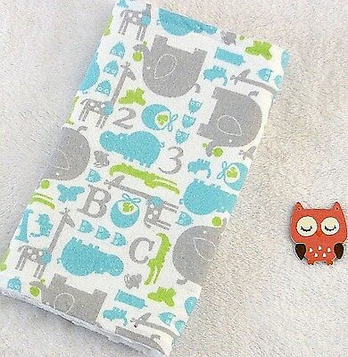 Handcrafted, Flannel ABC Jungle Print & White Minky Bubble, Baby Burp Cloth