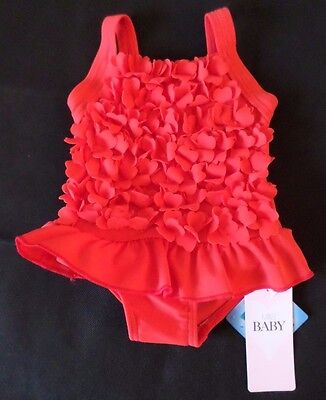 Baby Girls Age 3-6 Months Swimsuit New M&s Baby Red Flowers Lycra Xtra Life